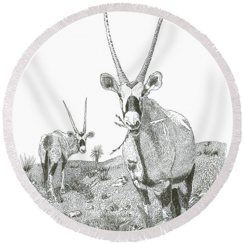 Images Of White Sands Orax Framed Art Of Wild Animals. Framed Pen And Ink Art Of Oryx Round Beach Towel featuring the drawing White Sands Orax by Jack Pumphrey