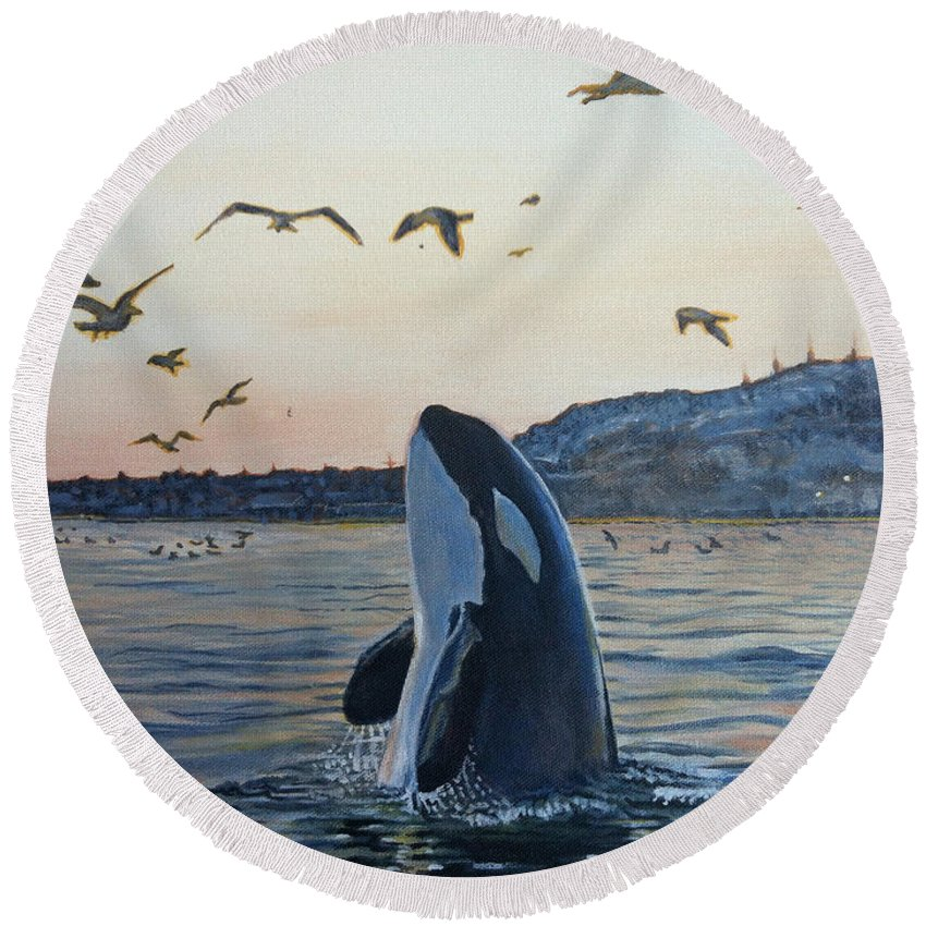 Orca Round Beach Towel featuring the painting Orca by Rayna DeHoog