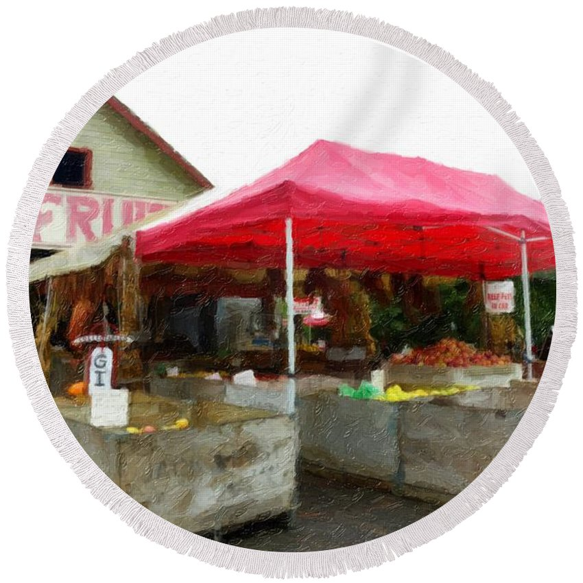 Hood River Round Beach Towel featuring the photograph Orchard Fruit Stand by Image Takers Photography LLC - Carol Haddon