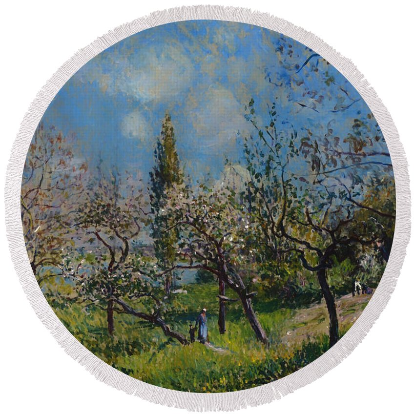 Painting Round Beach Towel featuring the painting Orchard In Spring by Mountain Dreams