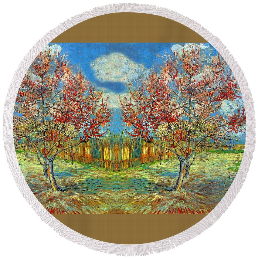 Orchard Round Beach Towel featuring the photograph Orchards by Munir Alawi
