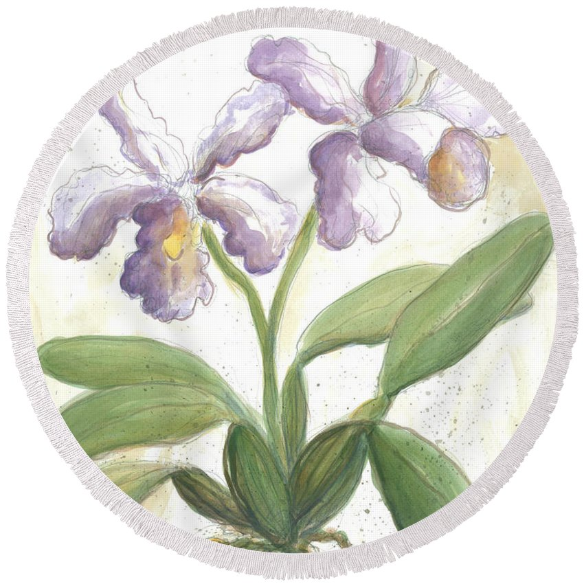 Lavender Orchid Round Beach Towel featuring the painting Orchid by Gerry High