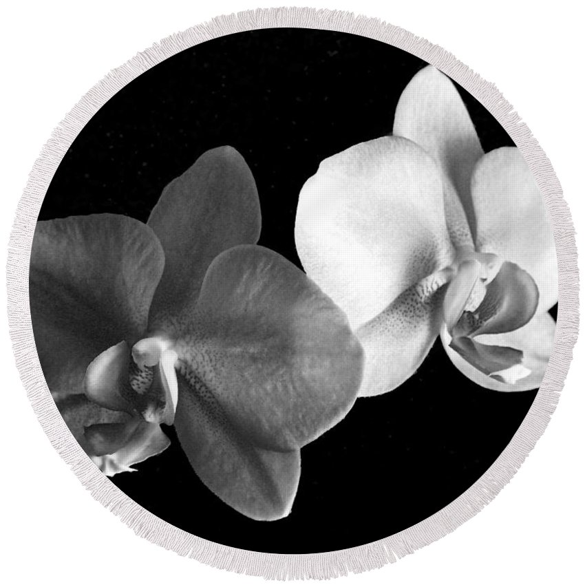 Floral Round Beach Towel featuring the photograph Orchid In Black And White by Steve Karol