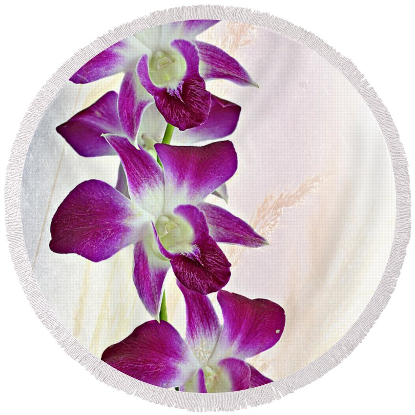 Background Round Beach Towel featuring the photograph Orchids by Paul Fell