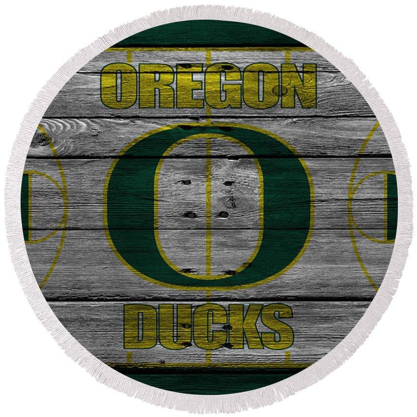 Ducks Round Beach Towel featuring the photograph Oregon Ducks by Joe Hamilton