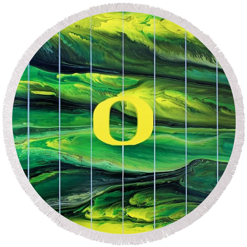 University Of Oregon Round Beach Towel featuring the painting Oregon Football by Michael Cross