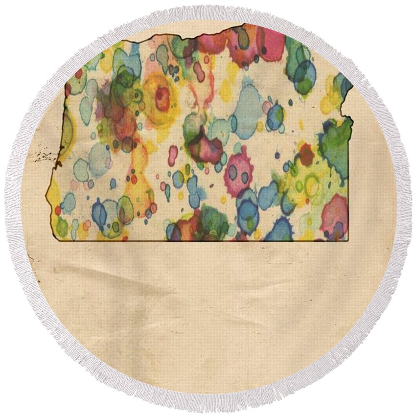 Oregon Round Beach Towel featuring the painting Oregon Map Vintage Watercolor by Florian Rodarte