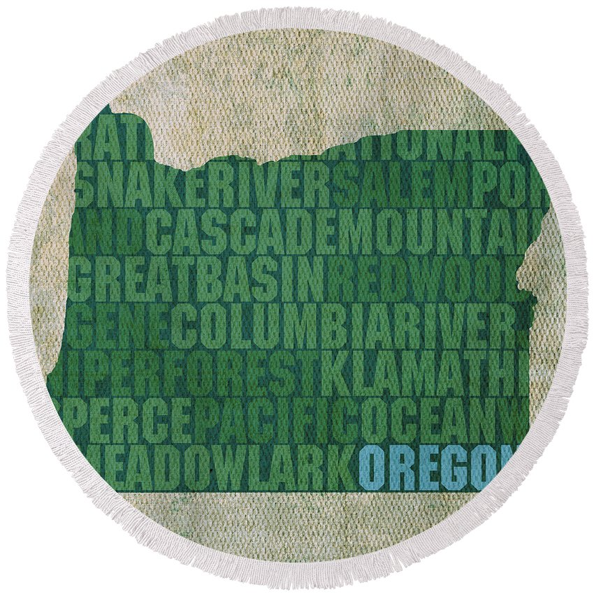 Oregon Round Beach Towel featuring the mixed media Oregon Word Art State Map On Canvas by Design Turnpike