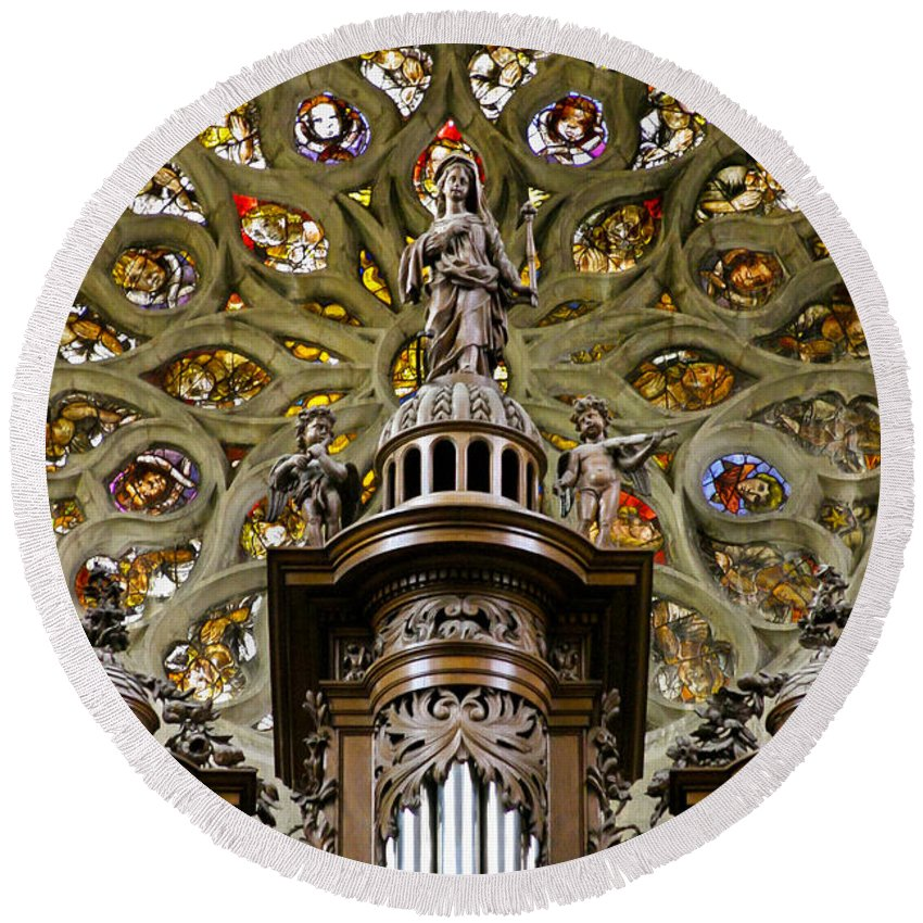 France Round Beach Towel featuring the photograph Organ And Window by Jenny Setchell