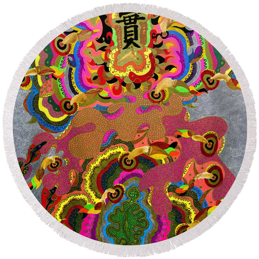 Leaf Round Beach Towel featuring the painting Oriental Leaf by Alex Art and Photo