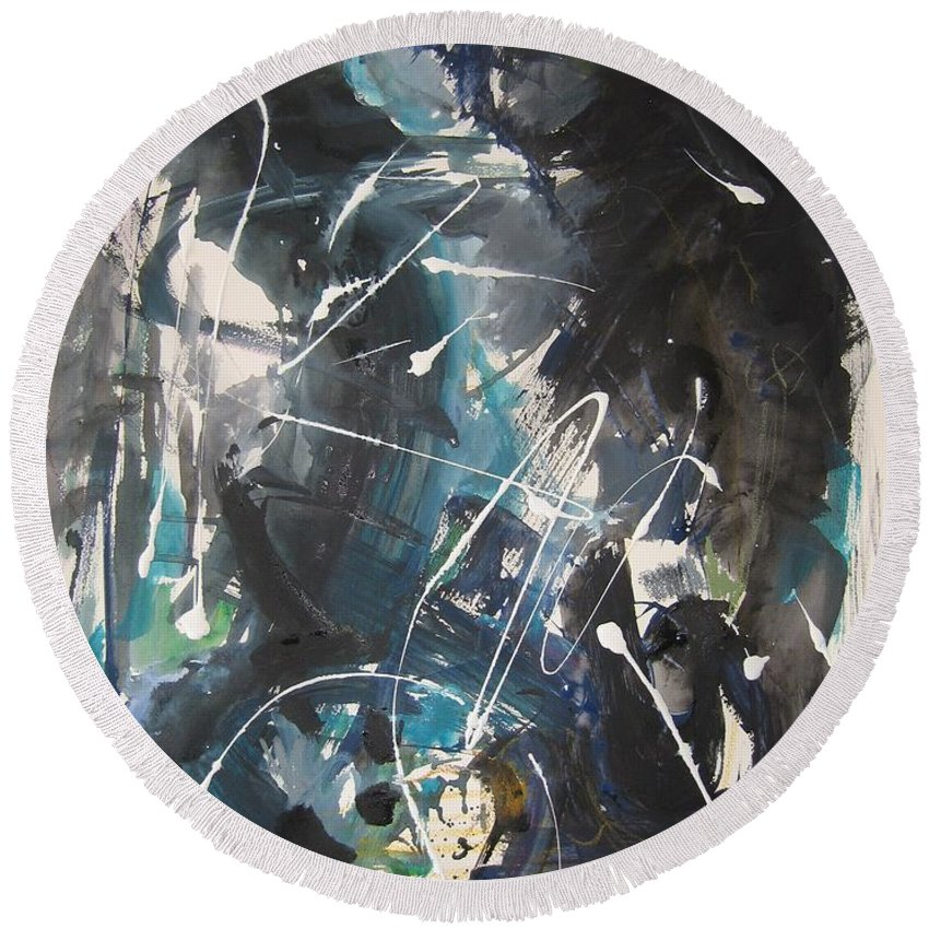 Blue Black Paintings Round Beach Towel featuring the painting original abstract blue and black painting for sale-Blue Valley by Seon-Jeong Kim