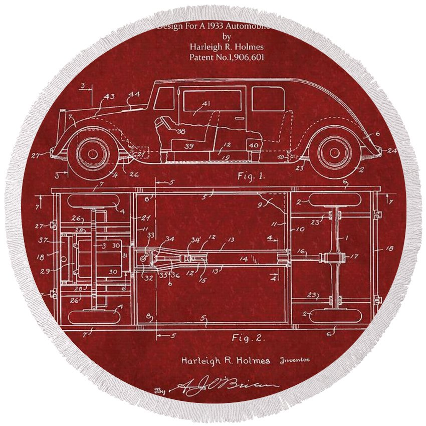 Harleigh R. Holmes Round Beach Towel featuring the photograph Original Harleigh Holmes Automobile Patent 1932 by Doc Braham