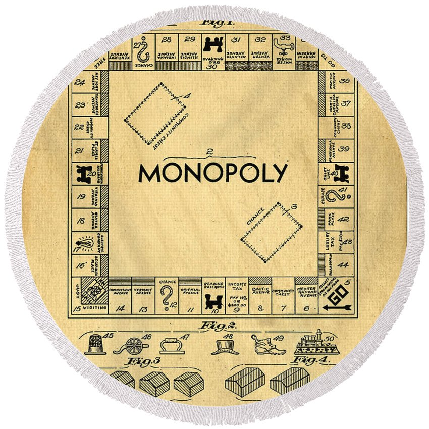 Monopoly Round Beach Towel featuring the digital art Original Patent For Monopoly Board Game by Edward Fielding