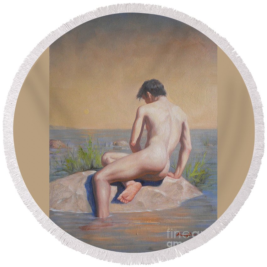 Original. Oil Painting Round Beach Towel featuring the painting Original Young Man Body Oil Painting Gay Art Male Nude#16-2-3-04 by Hongtao   Huang