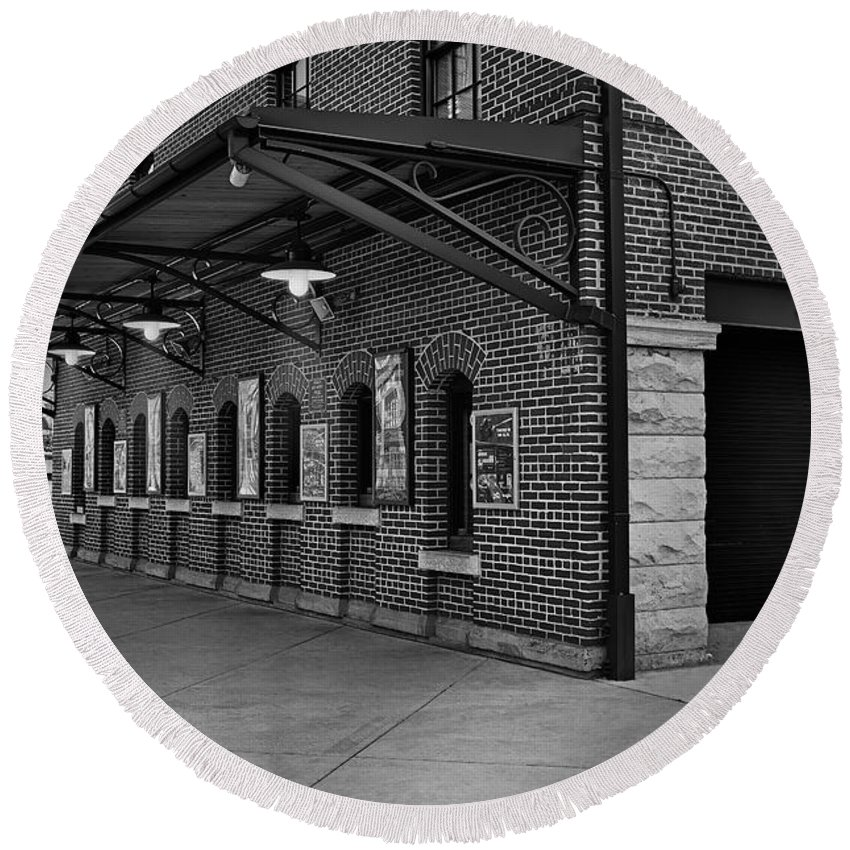 Baltimore Round Beach Towel featuring the photograph Oriole Park Box Office Bw by Susan Candelario