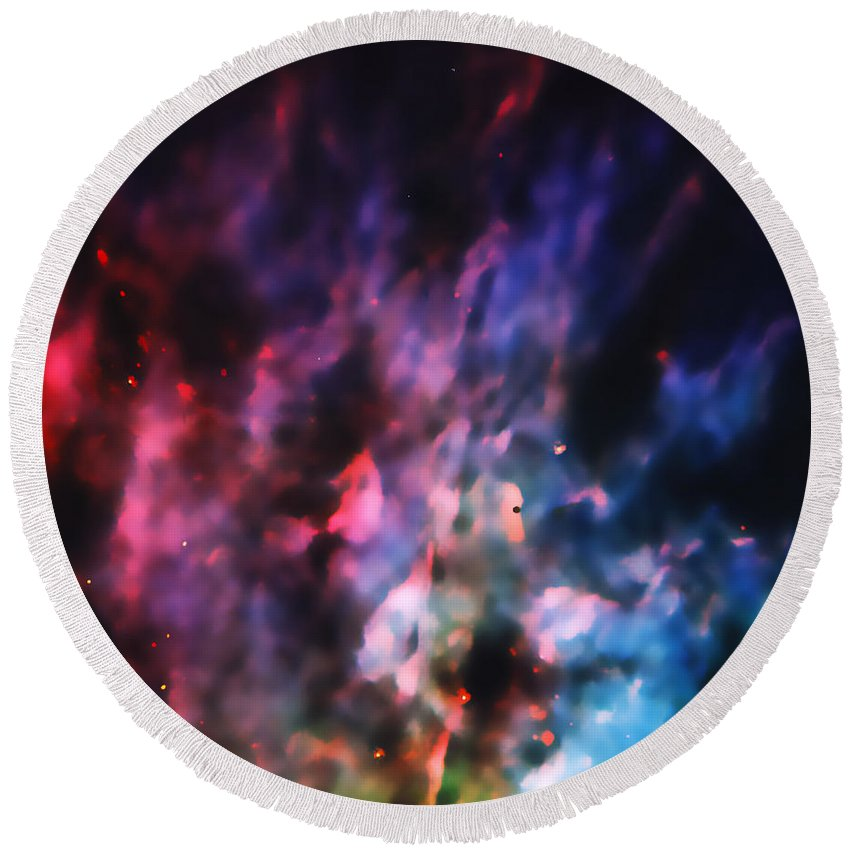 Nebula Round Beach Towel featuring the photograph Orion Nebula Rainbow Smoke by Jennifer Rondinelli Reilly - Fine Art Photography