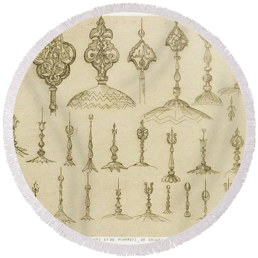 Knob Round Beach Towel featuring the drawing Ornamental Knobs Shaped As Domes by Jean Francois Albanis de Beaumont
