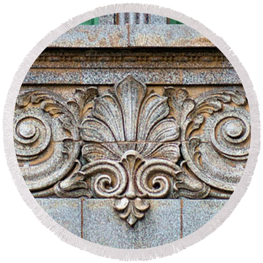 Scrollwork Round Beach Towel featuring the photograph Ornamental Scrollwork Panel - Architectural Detail by Nikolyn McDonald