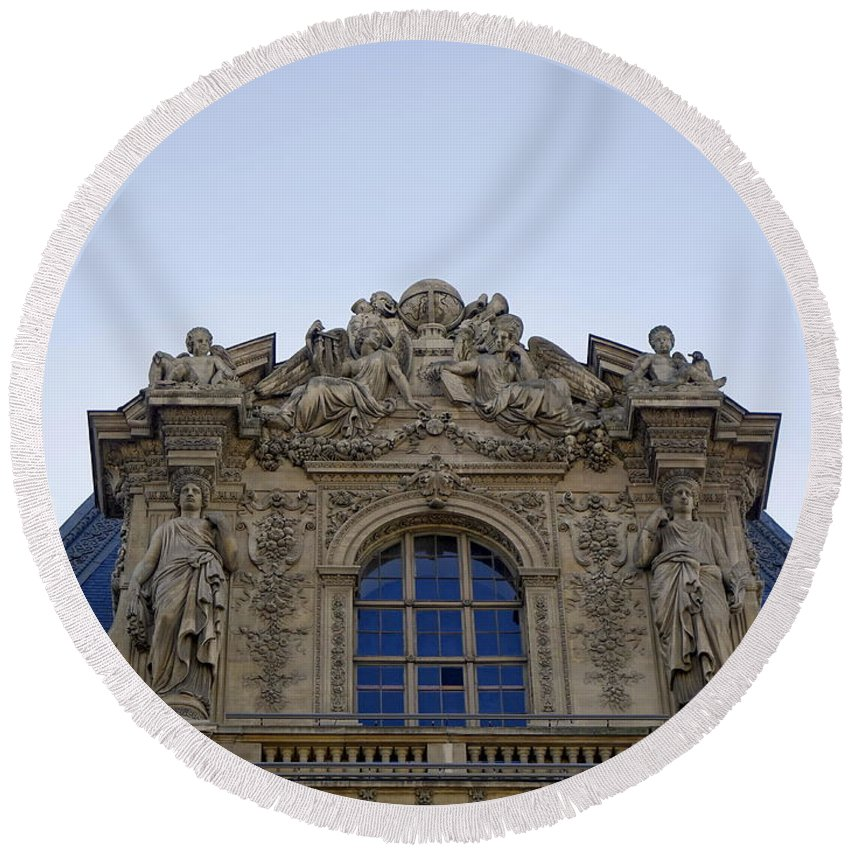 Paris Round Beach Towel featuring the photograph Ornate Architectural Artwork On The Musee Du Louvre Buildings In Paris France by Richard Rosenshein