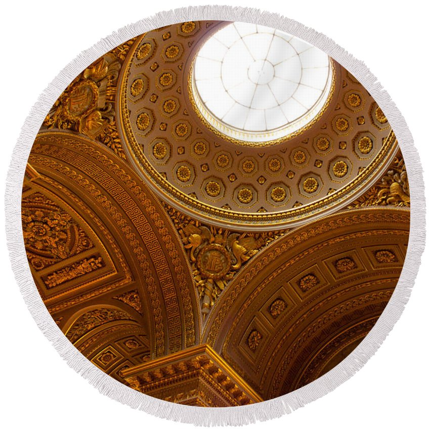 Paris Round Beach Towel featuring the photograph Ornate Ceiling Of Versailles by Anthony Doudt