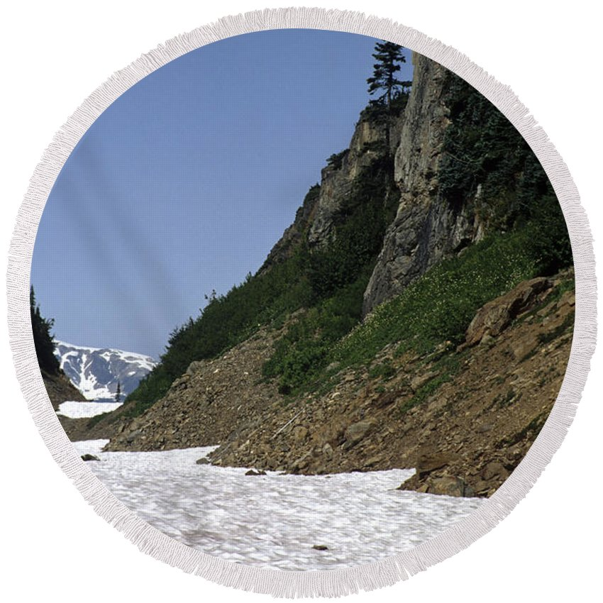 Alaska Round Beach Towel featuring the photograph Orphaned Snow Field by Roderick Bley