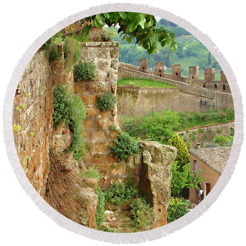 Orvieto Battlement Round Beach Towel featuring the photograph Orvieto Battlement by Ellen Henneke