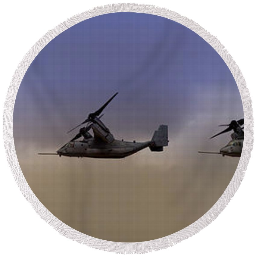 V22 Round Beach Towel featuring the photograph Osprey Transformation by Ricky Barnard