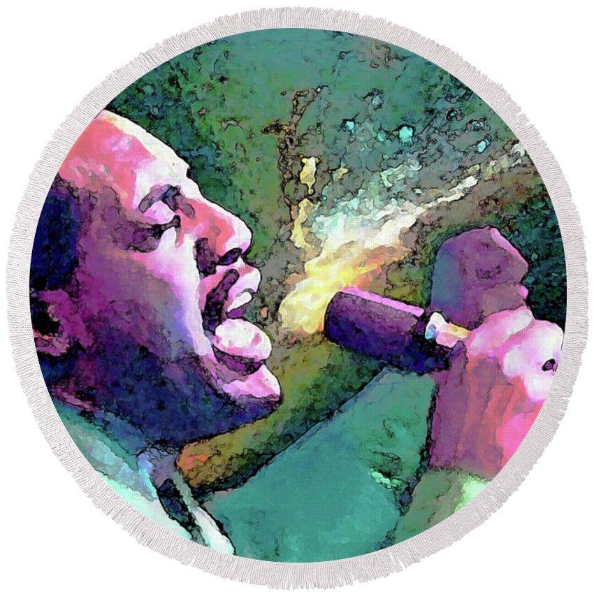Otis Redding Round Beach Towel featuring the painting Otis Redding by John Travisano