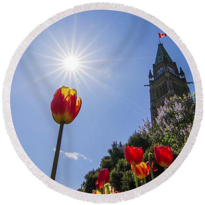 Ottawa Round Beach Towel featuring the photograph Ottawa Tulip Festival by Mircea Costina Photography