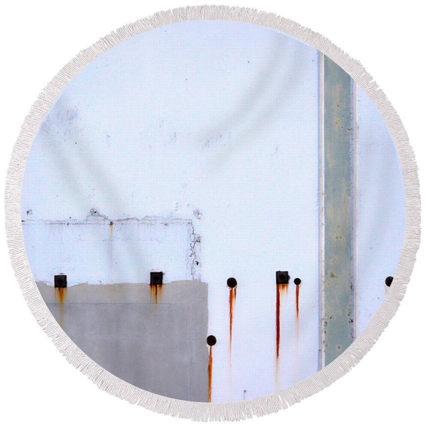 Abstract Round Beach Towel featuring the photograph Our Cracks That Seeped by The Artist Project
