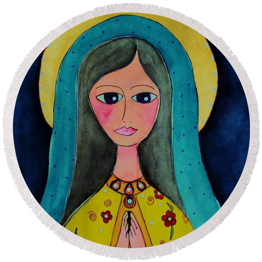 Mary Round Beach Towel featuring the painting Our Lady by Melinda Etzold