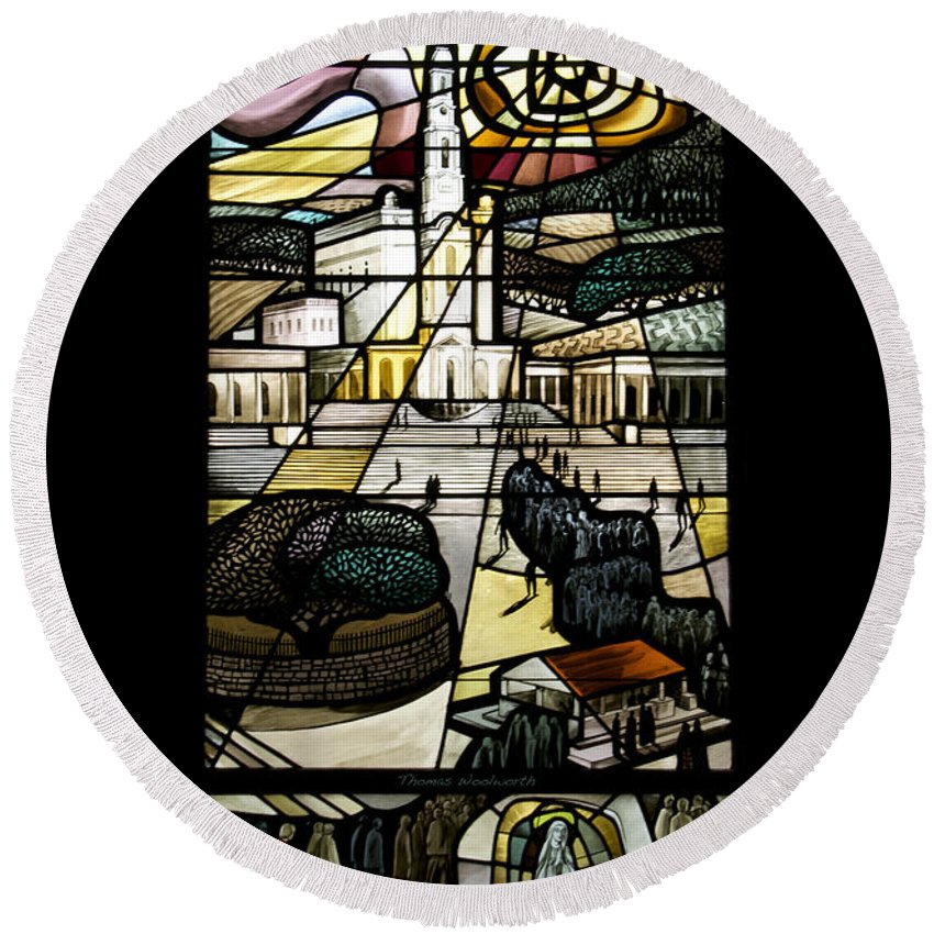 Stained Glass Round Beach Towel featuring the photograph Our Lady Of Fatima by Thomas Woolworth