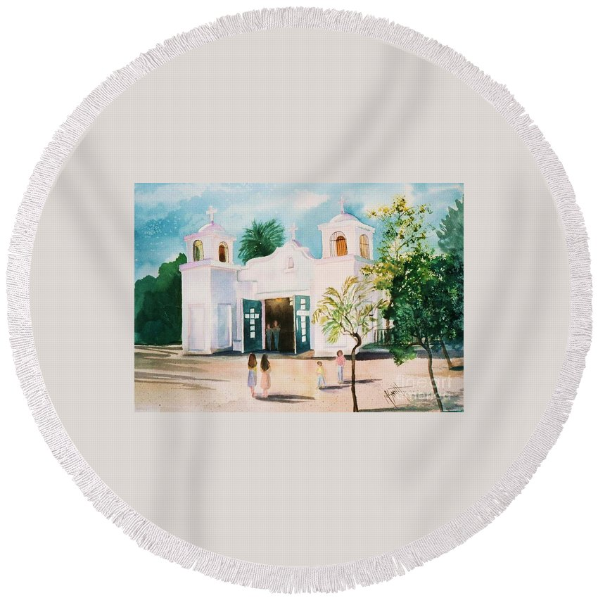 Mission Church Round Beach Towel featuring the painting Our Lady Of Guadalupe by Marilyn Smith