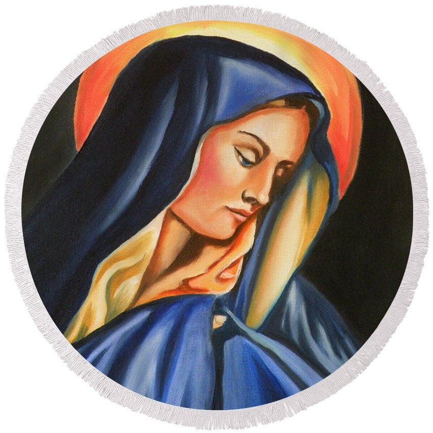 Our Lady Of Sorrows Round Beach Towel featuring the painting Our Lady Of Sorrows by Lora Duguay