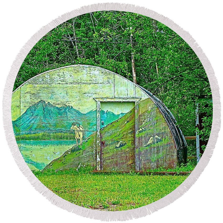 Our Lady Of The Way Quonset Hut Chapel In Haines Junction Round Beach Towel featuring the photograph Our Lady Of The Way Quonset Hut Chapel In Haines Junction-yt by Ruth Hager
