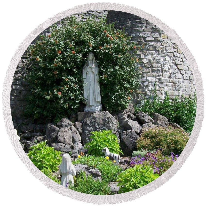Religious Round Beach Towel featuring the photograph Our Lady Of The Woods Shrine Lll by Michelle Calkins