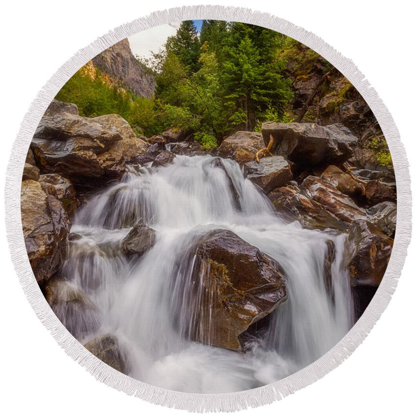 Waterfall Round Beach Towel featuring the photograph Ouray Wilderness by Darren White