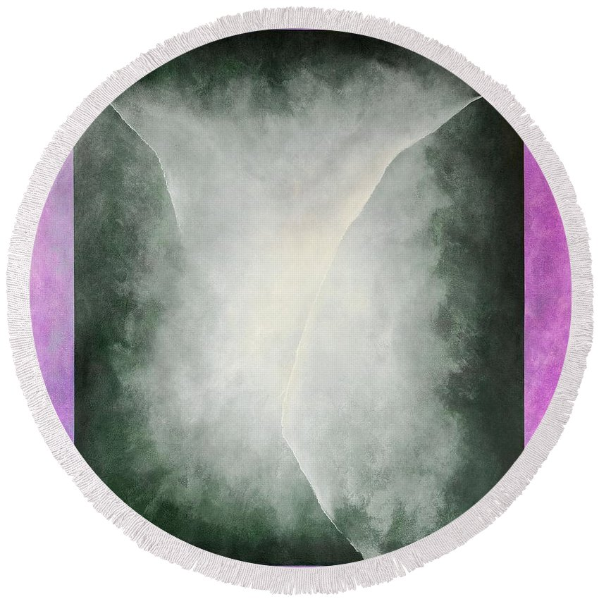 Abstract Round Beach Towel featuring the painting Ouroboros Three Green, 2010 by Mathew Clum