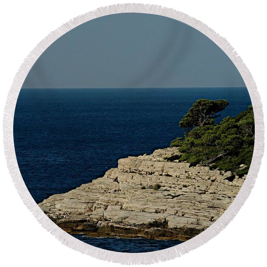 Adriatic Sea Round Beach Towel featuring the photograph Out Bound by Joseph Yarbrough