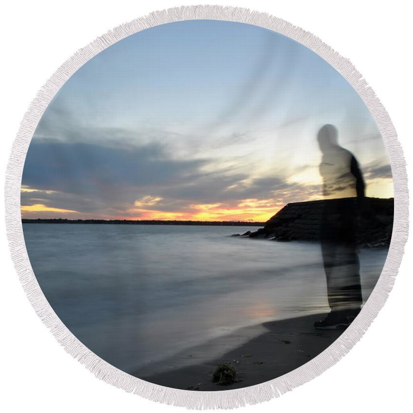 Sunset Round Beach Towel featuring the photograph Out Of Body...out Of Mind...yet In Peace by Michael Frank Jr