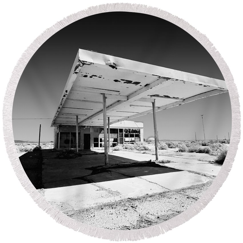 Gas Station. Service Station Round Beach Towel featuring the photograph Out Of Gas by Peter Tellone
