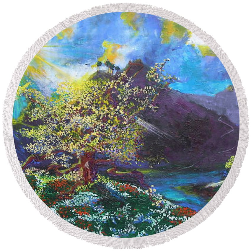 Landscape Round Beach Towel featuring the painting Out Of The Blue by Stefan Duncan