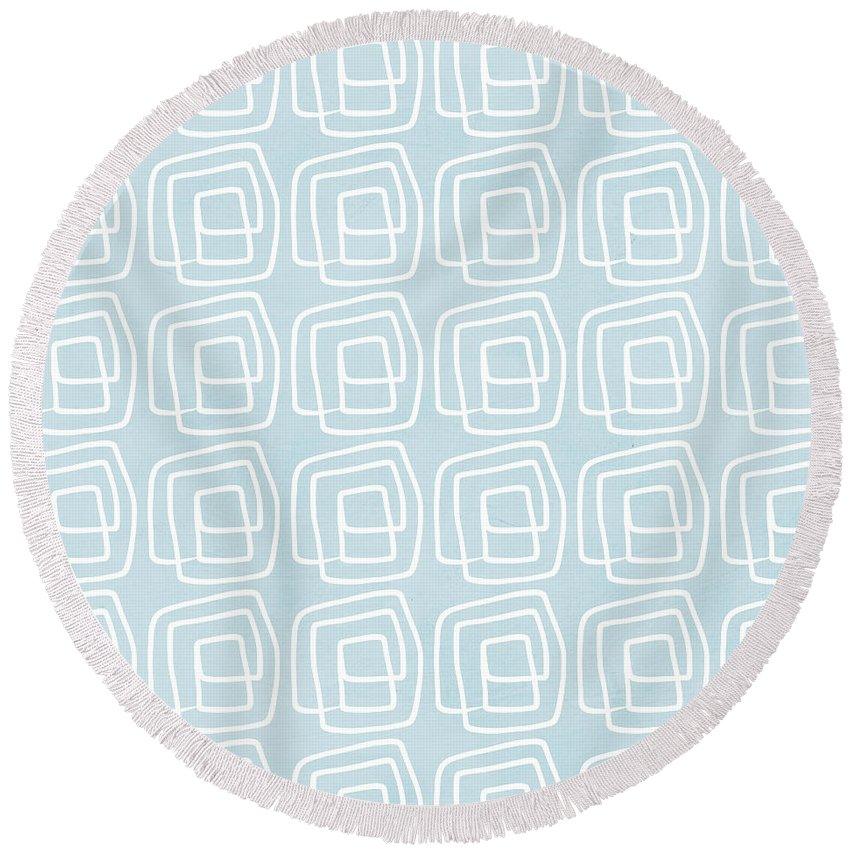 Boho Round Beach Towel featuring the painting Out of The Box blue and white pattern by Linda Woods
