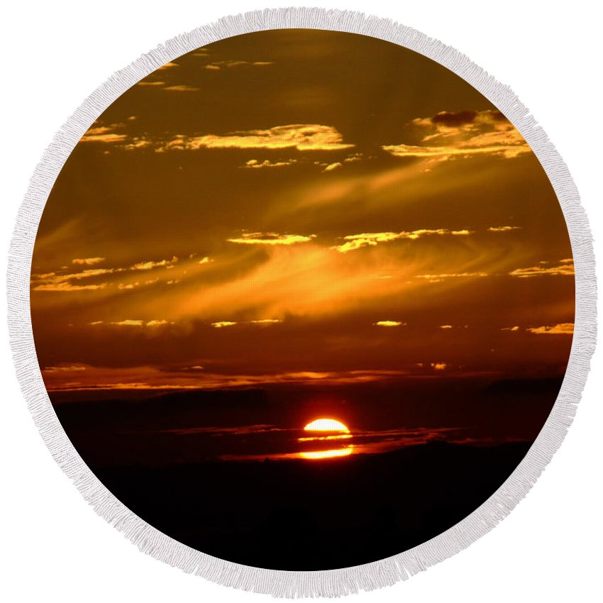 Sunset Round Beach Towel featuring the photograph Out Of The Earth's Core by Donna Blackhall