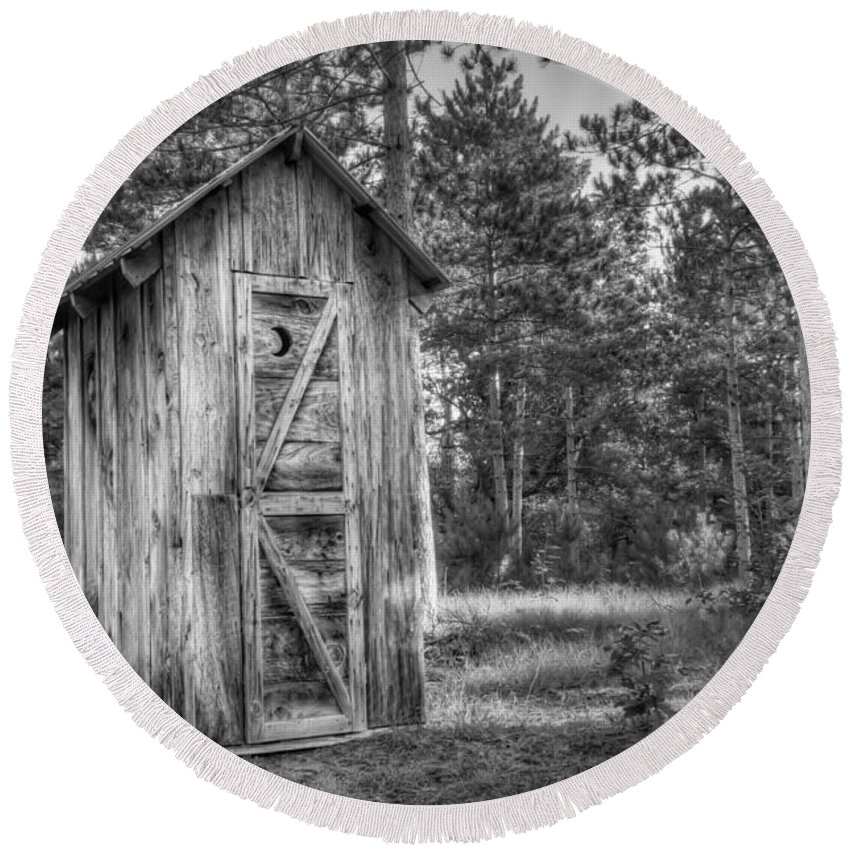 Outhouse Photographs Round Beach Towels