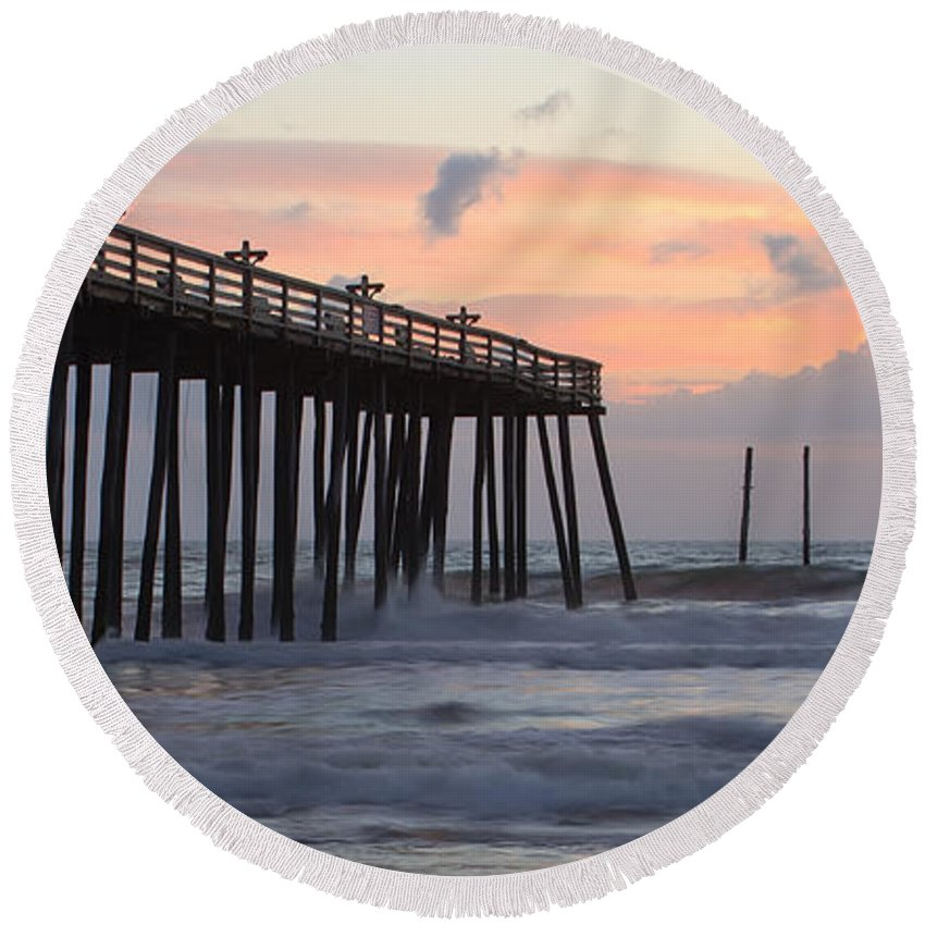 Atlantic Round Beach Towel featuring the photograph Outer Banks Sunrise by Adam Romanowicz