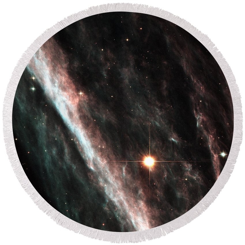 Nasa Usgs Round Beach Towel featuring the photograph Outer Space Three One Six by Nasa Usgs