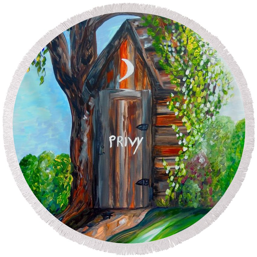 Out House Round Beach Towel featuring the painting Outhouse - Privy - The Old Out House by Eloise Schneider Mote