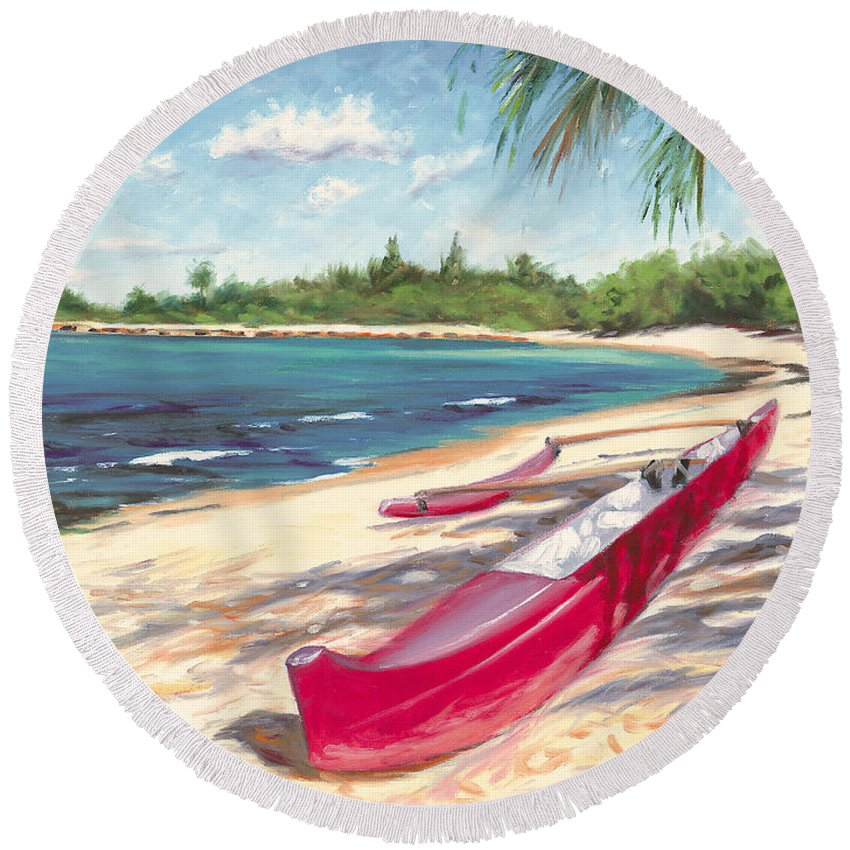 Outrigger Round Beach Towel featuring the painting Outrigger - Haleiwa by Steve Simon