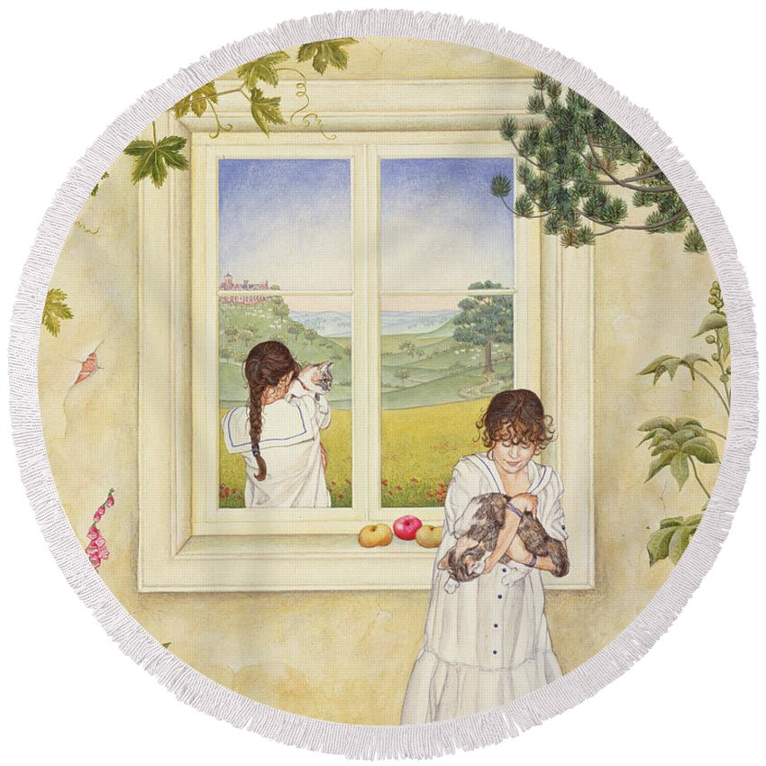 Window Round Beach Towel featuring the photograph Outside Out Times Julie, 1988 by Ditz